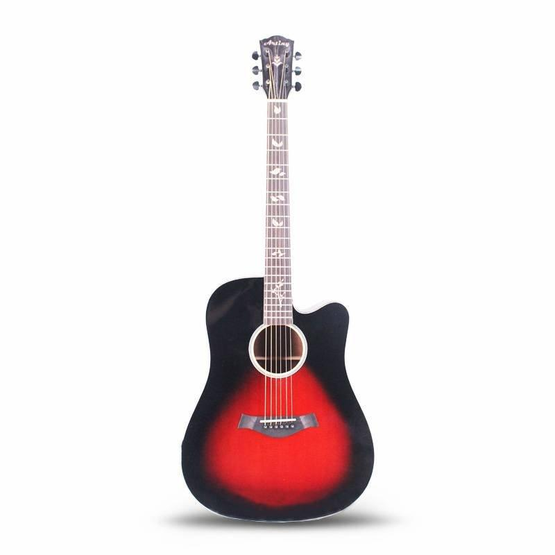 Artiny 41 inch dreadnoughts solid top acoustic guitar with gloss finish black burst color QAG085