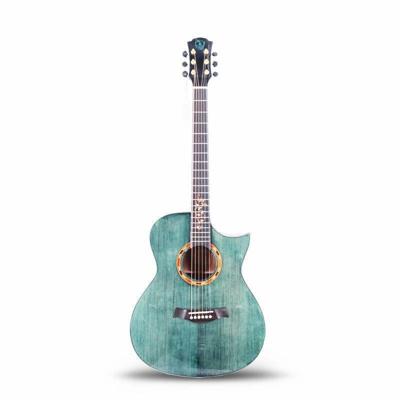Qteguitar 41 Inch electric acoustic guitar with vintage QAG88BL