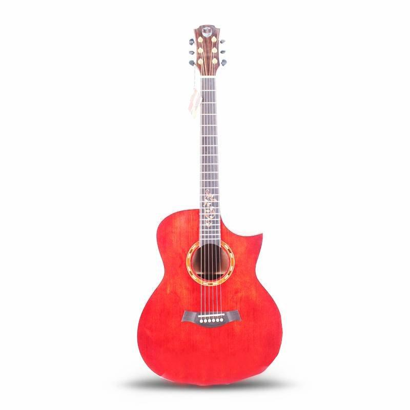 Qte Acoustic Electric Dread nought Cutaway Guitar in Transparent red Finish vintage